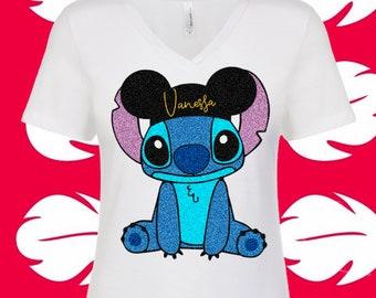 Stitch Shirt Lilo and Stitch Mickey Hat Glitter Stitch Girls Stitch for Women Hawaiian Disney Ohana Youth plus size curvy tank personalized