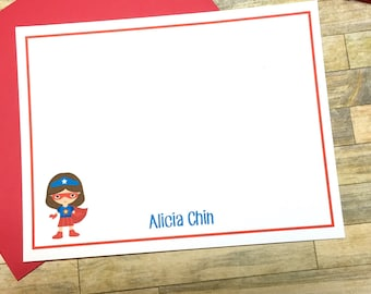 Girls Personalized Stationery - Girls Super Hero Cards -  Superhero Note Cards - Thank You Cards - Personalized Cards - Super Woman DM148