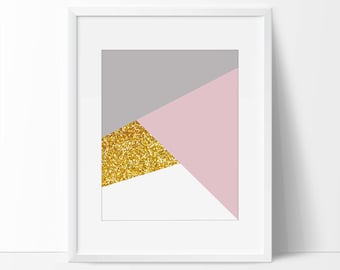 Abstract Art Print, Printable Gold Geometric Abstract, Pink, 8x10 Abstract Print, 5x7 Abstract Print, Abstract Watercolor Painting.