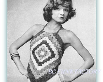 Halter Pattern 1970's Granny Squares Pattern Womens 's Vintage Top Digital Crochet Pattern Instant download