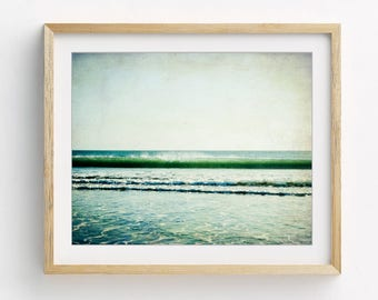 "Beach Photography - Ocean Wave Print - Jade Green Wall Art - Teal Blue Print - Modern Rustic Beach Art - California Beach Print ""Jade Beach"""