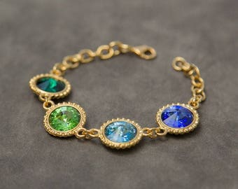 Custom Mother's Bracelet, Gold Crystal Birthstone Bracelet, Birthstone Jewelry, Grandmother's Bracelet, Mother's Jewelry