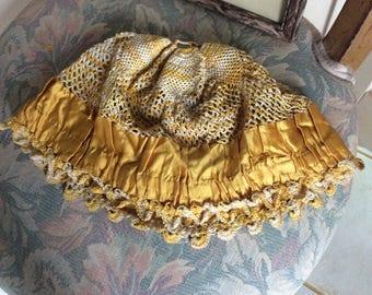 1920's Flapper Boudoir Cap,  Silk Crochet and Gold Silk Fabric Cap