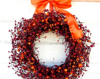 Fall Wreath-Fall Door Wreaths-Rustic Home Decor-Red Wreath-Wall Hanging-SUNSET ORANGE & RED Wreath-Rustic Home Decor-Housewarming Gifts