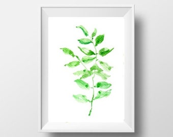 Leaf illustration watercolor painting tropical plant leaf print nature botanical wall art decor poster picture sqaure 8x16  4x12 home