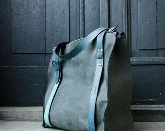 Big grey Lili oversize leather bag ladybuq