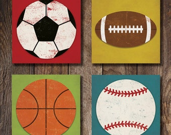 4 Sports Balls Soccer Football Basketball Baseball Graphic Art Stretched Canvas Ready-To-Hang by Ryan Fowler