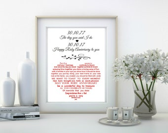 Ruby Anniversary Gift for parents, Parents Golden Wedding Anniversary Gift, Silver Anniversary, Diamond Anniversary 10x8 print, Mum and Dad