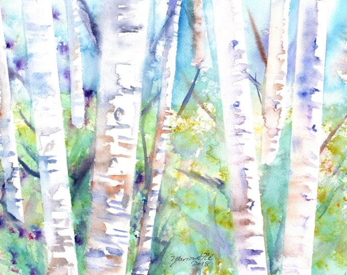 birch trees, watercolor birch trees, sunny birch tree, watercolor trees, misty trees, misty forest, sunshine forest, white trees, spring