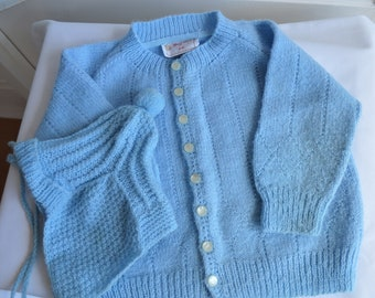 Vintage child's blue sweater and hat