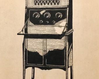 Edith Leach RADIO DAYS Original Vintage Art 1920'S FLAPPER Art Deco Jazz Age 20s pinup Illustration Radio Shows Shadow Vanguard collection