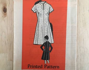 Vintages 1970's mail order pattern 4503 A line dress with keyhole neckline and 3 sleeve lengths Size 34 Bust 38""