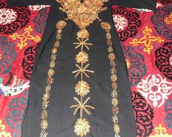 Vintage Moroccan Embroidered Full Length Kaftan Orange Floral Swirls on Black Cotton with Tassels