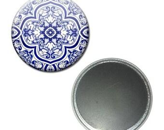 Magnet button 56 mm - Azulejos geometric pattern
