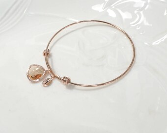 Bridesmaid gift, Champagne pendant bracelet, Personalized bracelet, Peach bracelet, Leaf initial, rose gold bangle,Maid of honor gift