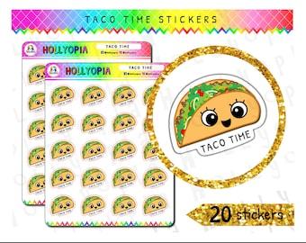 20 Cute Taco Planner Stickers, Food, Perfect for your Happy Planner, Erin Condren, Kikki K, Filofax, etc. UK