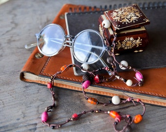 Pink Orange Necklace. Beaded bracelet. Hippie Necklace. Multistrand Jewelry. Bright Necklace. Summer Jewelry. Colorful Bracelet