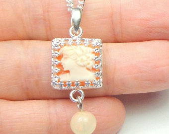 Vintage Hand Carved Conch Shell Cameo Necklace, Creamy Peach, Welo Opal, New Sterling Silver Chain,OOAK
