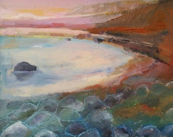 Sun set coast- original modern abstract oil painting on canvas- 16 x 20