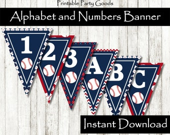 ABCs and 123s Baseball Birthday Banner, Baseball Party Decoration Baseball Party Baseball Theme Party Baseball Birthday Baseball Decoration