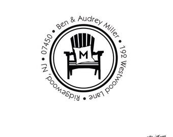 Seaside Coastal Beach Stationery House Personalized Custom Return Address  Rubber Stamp Self Inking Adirondack Chair Monogram Pillow Family