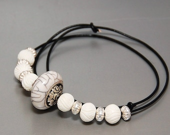 BLANCA - Tribal necklace, white and silver, carved bone beads, BOHO, Hipster, handmade beads, black and white, modular, resin bead