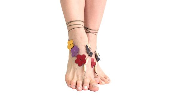 beaded barefoot Flower sandals hippie boho sandals butterfly beach jewelry barefoot sandals leather flower anklet sandals barefoot dttwqr