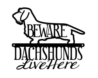 Wire Haired Dachshunds Live Here Metal Sign- Black, 12x10, Weiner Dog, Dachshund, Door Sign, Dachshund Gift, Toy Dog