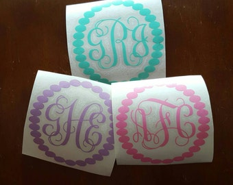 Pearl Monogram Decal,  Monogram Pearl Decal, Monogrammed Decal, Pearl Decal