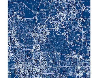 Ann Arbor Cityscape / Michigan City Map Art Print Grad Gift / Choose your color / 8x10 / Abstract Wall Art