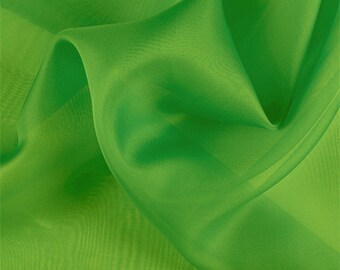 Green Silk Organza, Fabric By The Yard