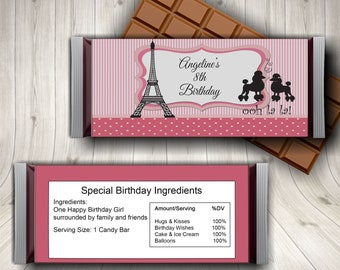 Paris Candy Bar Wrapper, Eiffel Tower Candy Label, Paris Birthday Party, Paris Themed Party Ideas, Hershey Chocolate