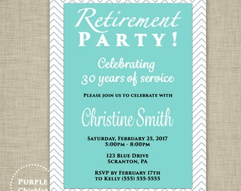 Retirement Party Invitation Chevron Blue White Invitation Adult Party Printable Invite 5x7 Digital JPG File 350