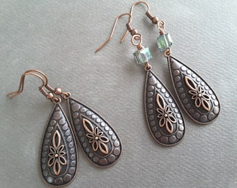 Antique Copper Filigree Teardrops . Earrings