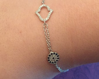 Crystal Hamsa and Evil Eye sterling silver bracelet, protection jewelry, gifts for her, hamsa, evil eye