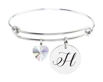 Initial Bangle made with Crystals from Swarovski - H - SWABANGLE-GLD-AB-H - Silver