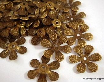 25 Bronze Bead Caps Antique Iron Flower NF 16mm - 25 pc - F4051BC-AB25