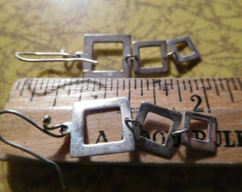 "Funky and Fun Sterling Silver 925 marked Square Dangle Earrings 2"" long including 925 wire 3.8g"