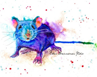 Mouse art print - mouse art, colorful mouse print, mouse wall decor, rodent art, mice art print, woodland animal art, mouse lover art, mouse
