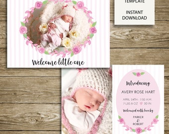 INSTANT DOWNLOAD - Beautiful Bloom Birth Announcement - 7x5 Photoshop Template