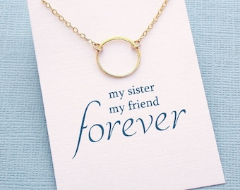 Sister Gift | Circle Necklace, Gifts for Sister, Big Sister Birthday Gift, Best Friend Necklace, Friendship Necklace, Rose Gold  | S03