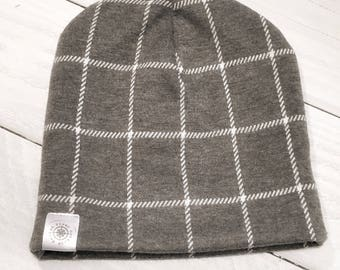 Grey and white winter hat, baby hat