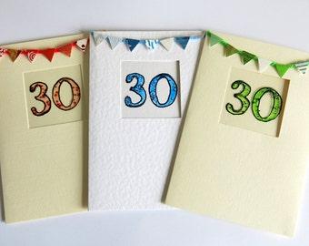 3oth birthday card - Anniversary card - birthday card - blank card- hand painted- milestone birthday -handmade -celebration card - uk seller