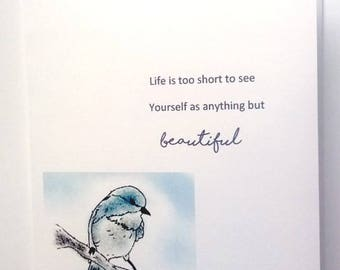 Card, inspirational, blue bird