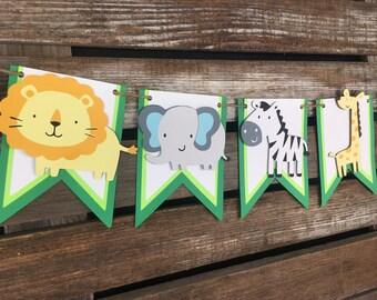 Safari Jungle Party Banner - Jungle Safari Banner, Safari Party, Safari Baby Shower, Birthday Party, First Birthday, Photo Prop