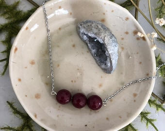 Faceted Ruby Red Jade Three Bead Minimalist Necklace