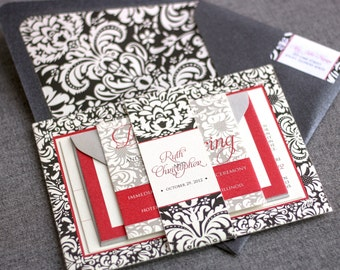 "Winter Floral Invitations, Black and White Invitation Suite, Red and Black Gothic Invitations - ""Sophisticated Damask Border"" FP-NL SAMPLE"