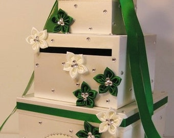 Wedding Card Box White and  Green Gift Card Box Money Card Box Holder-Customize Your Color