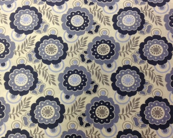 Blue Floral Fabric, Cotton Print Fabric