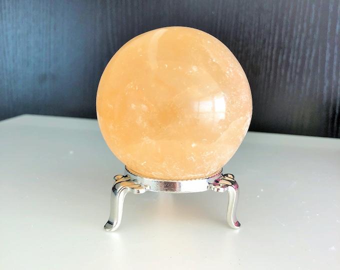 Large Crystal Ball made of  Selenite Crystal Sphere w/ Reiki